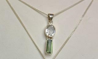 Moldavite & Herkimer Diamond Pendant